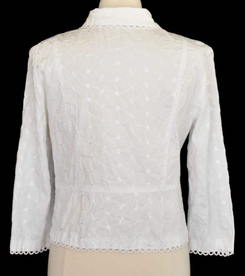 Large to Extra Large Cropped Jacket Size L to XL Vintage 90s Minimalist One Button Jacket White Eyelet Blazer 1990s Minimal Shirt Jac