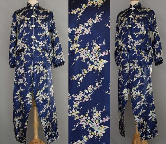 Asian Silk Lounge Pajama Set,  Japanese Style Cher