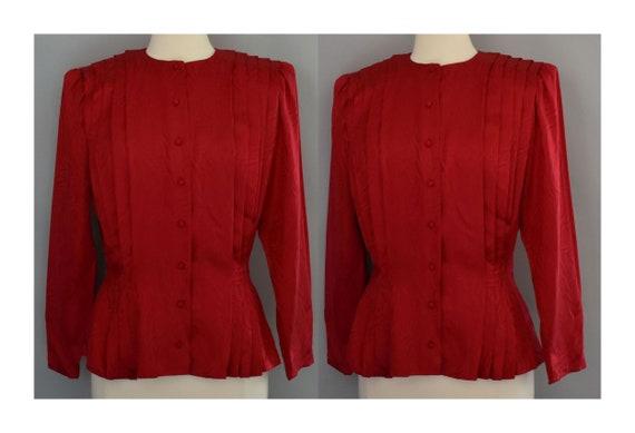 Scarlet Red Silk Blouse, Silk Jacquard Blouse, Lon