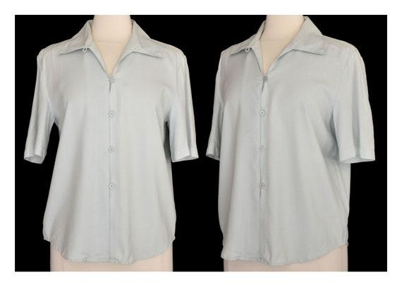 Green Silk Blouse, Pale Green Camp Shirt, Minimal