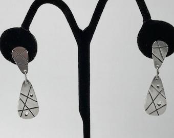 Nita Lustig Modernist Sterling Silver Earrings 1950s Mid-Century Modern