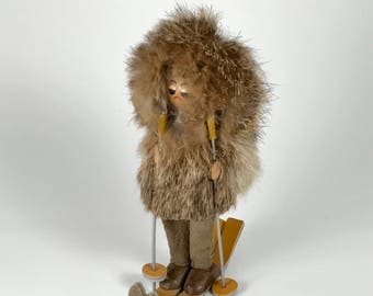 Vintage Eskimo Skier Made of Wood, Leather and Real Fur c. 1960s