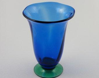 Erika Lagerbielke Orrefors Cobalt Blue Art Glass Vase Danish Modern Scandinavian