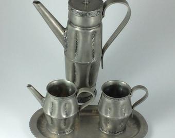 S. Borg Handmade Norway Pewter Tea Service Set w/ Teapot Sugar & Creamer Danish Modern Scandinavian