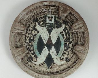 Vintage Iris Barna Studio Pottery Ashtray Southwestern Native American Theme