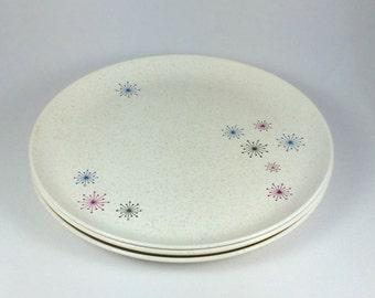 W.S. George Celeste Set of Three (3) Dinner Plates - Atomic Starburst Graphic Design!