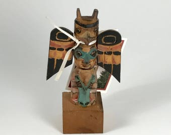 Vic Yeada Northwest Coast Hand Carved Alaska Totem Wood Carving New with Tags