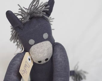 Sock animal, sock donkey, sock monkey, soft plush toy for children. Dudley Donkey.