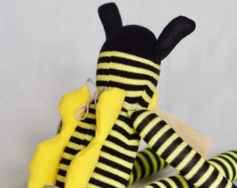Sock bee, sock animal, soft plush toy bee. Softie. Buzz Bee.
