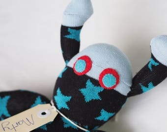 Sock Martian, sock monkey, soft plush toy, plush toy creature for children. Marty Martian.