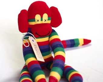 Sock monkey, sock animal, soft plush toy monkey. Maxwell Monkey.