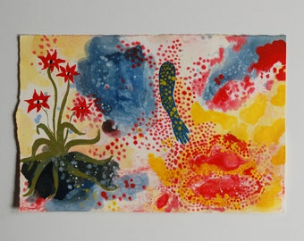 Abstract magical painting - small oil painting in primary colors