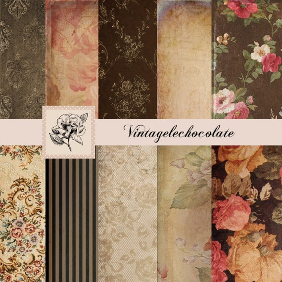 Digital Rose Floral Paper Background And Texture Vintage