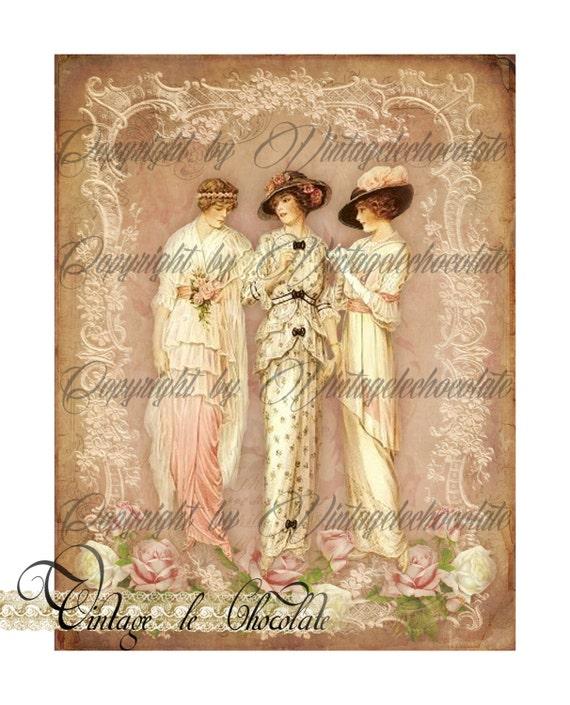 Digital Floral Paper Victorian Fashion Ladies Digital