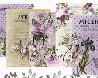 Purple Floral Vintage Junk Journal Paper Scrapbook Pages Decoupage Stationary Branding Printable. P294