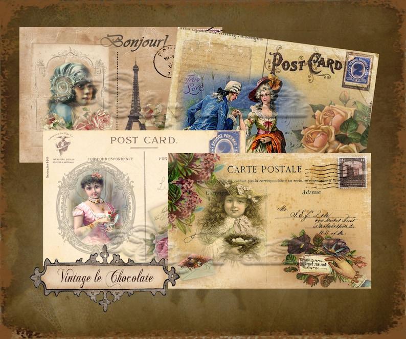 Digital Paper, Vintage Printable Postcards, Digital Vintage Postcards,  Shabby Rose Postcards, Ephemera Digital Paper Cards  No  424