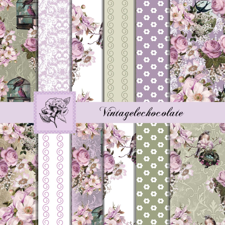 Digital Pink Rose Floral Paper Floral Lavender And Lilac