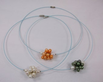 3 Pearl Choker Necklaces 18in - Screw Closure Free Shipping