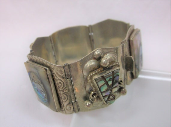 Vintage Hecho En Mexico Sterling Silver Abalone Aztec Mayan Design Free Shipping