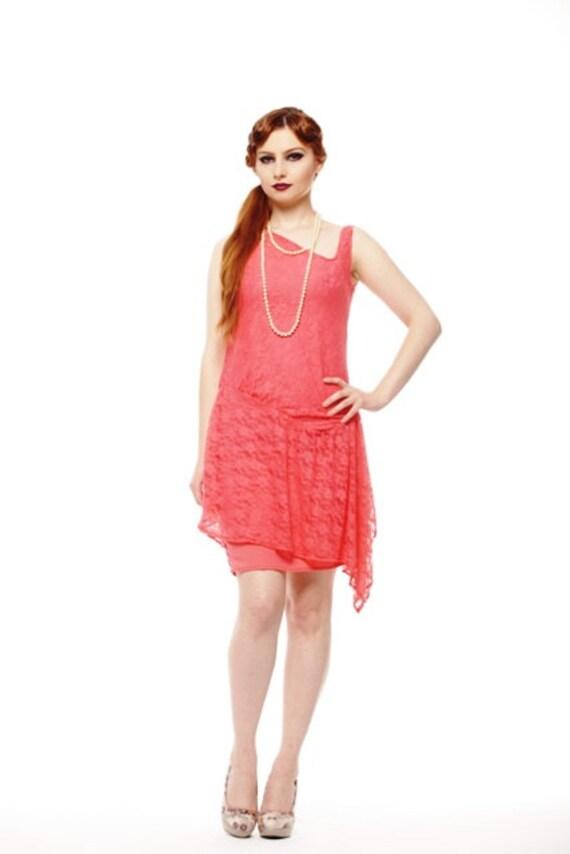 Asymmetrische Spitze Korallen Flapper Kleid Great Gatsby