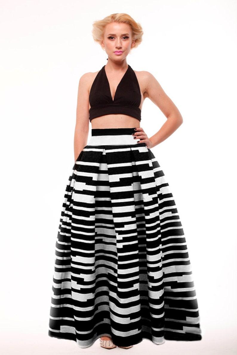 Gut gemocht Boden-Maxirock Plissee Streifen schwarz und weiß lang Rock | Etsy AL05