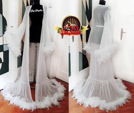 Ivory Stage Dress Ivory Big Feathers Glamorous Dressing Gown Bride Feathers Dressing Gown Big Feathers Ivory Robe