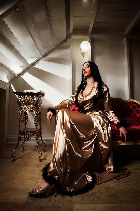 Gold Boudoir Silky Satin Dressing Gown Vintage Style Sleepwear   Etsy