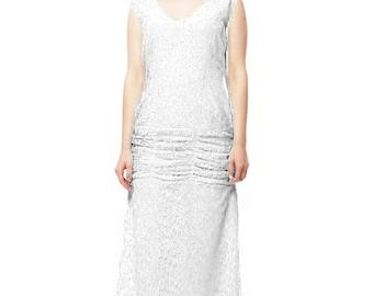 Flapper Wedding Lace Dress Great Gatsby 1920 Wedding Dress 20s Wedding Dress Wedding Drapped Lace Dress