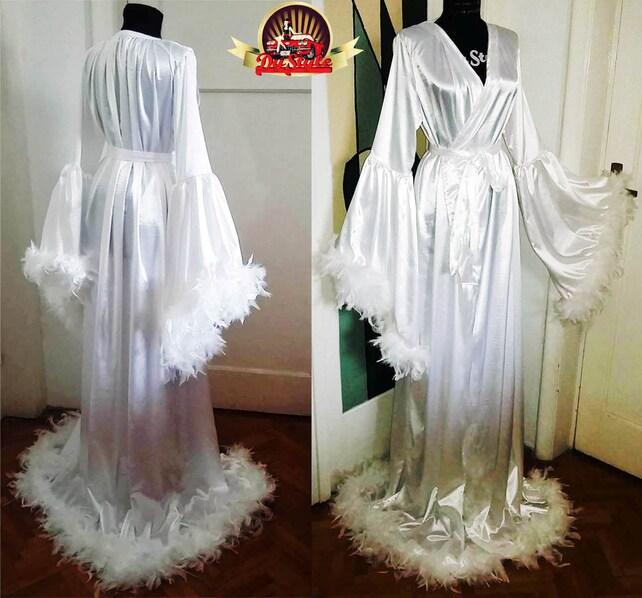 Satin Bridal Robe Feathers Trimmed Angel Sleeve Wedding   Etsy