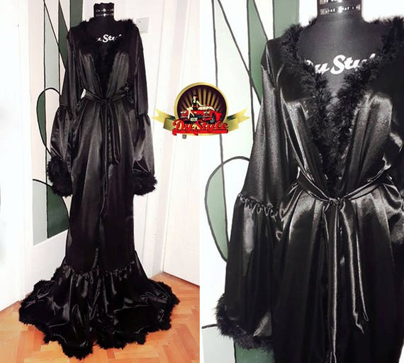 Black Silky Satin Dressing Gown Vintage Style Marabou Feather  Etsy