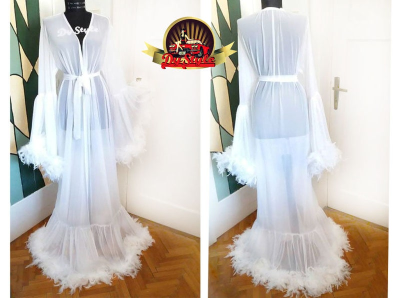 2b6758b3ae Glamorous Bride To Be White Tulle Big Feathers Vintage Romantic Peignoir  Robe