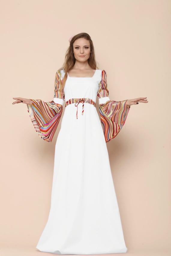 Boho Sommer Hochzeit Glocke Ärmel Kleid mittelalterliche