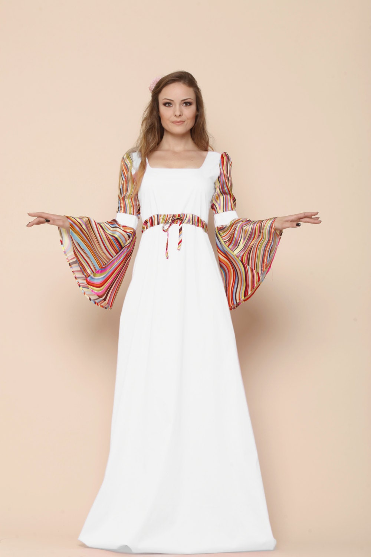 Boho Summer Wedding Bell Sleeve Dress Medieval Wedding ...