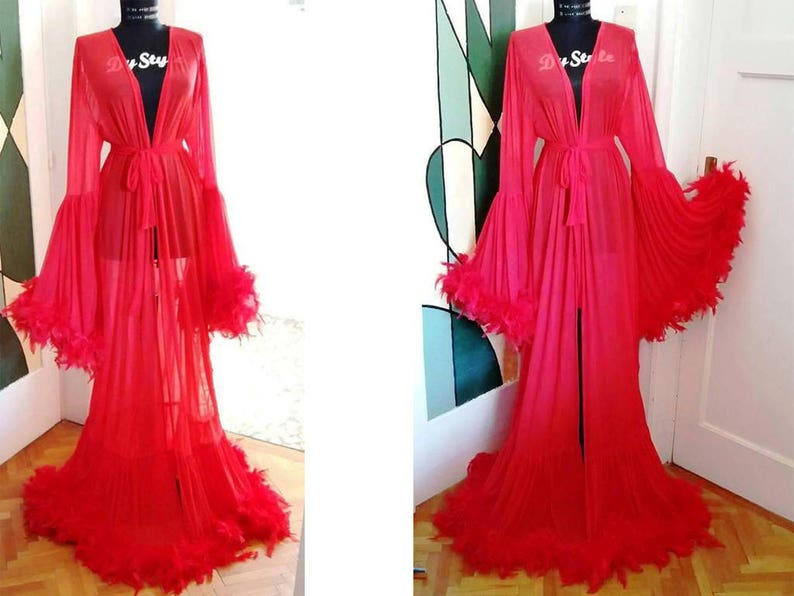 Red Dressing Gown Feathers Burlesque Robe Red Dressing Gown Etsy