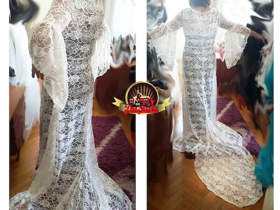 Medieval Ivory Wedding Lace Dress Renaissance Plus Size Gown Etsy