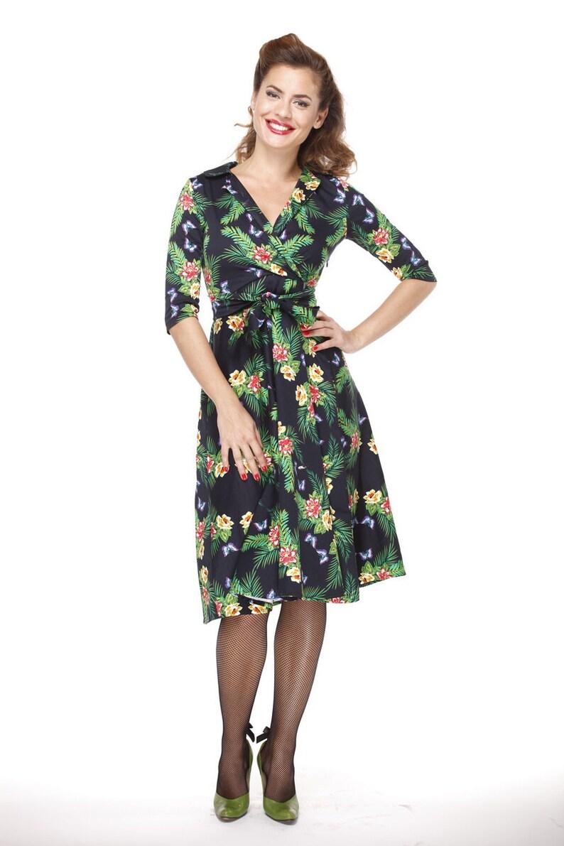 Flower Swing Dress Prom Dress With Sleeves Retro Flower Dress Plus Size Dress Bridesmaids Flowers Green Dress