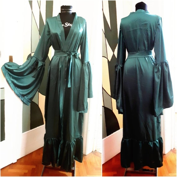 Hunter Green with White Feathers Satin Dressing Gown