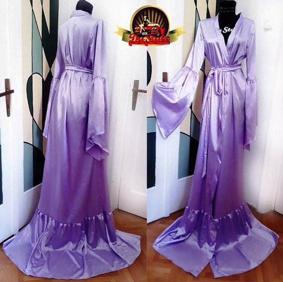 Lavender Satin Dressing Gown Silky Lavender Satin Bride | Etsy