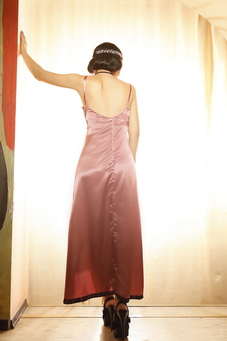 Vintage 1930s Hollywood Satin Great Gatsby Flapper Bridesmaid Prom New Year Christmas Party Dress