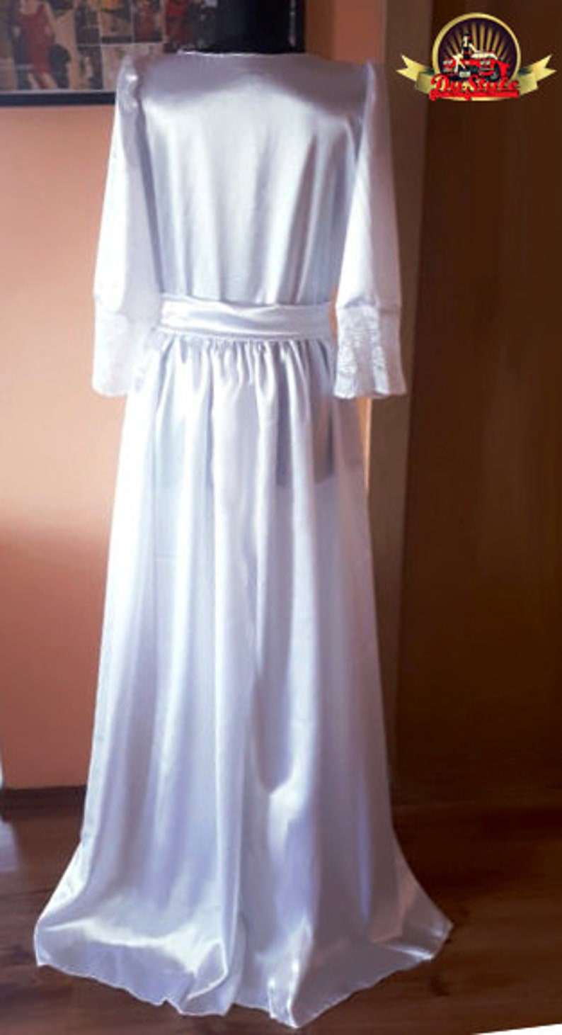 White Satin and Lace Puffy Sleeves Kimono Robe Dress