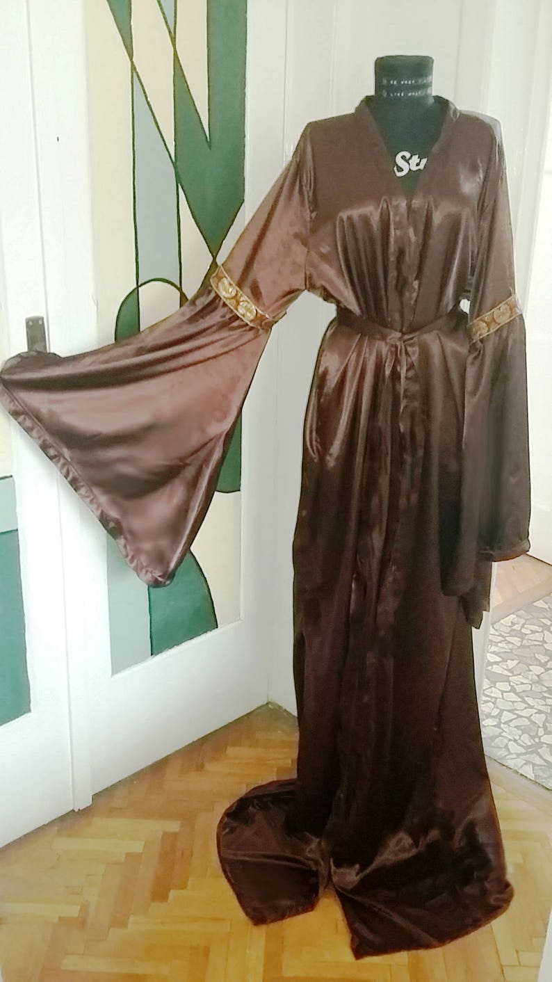 ad3c8dbf5b Medieval Brown Satin Dressing Gown Satin Medieval Gown
