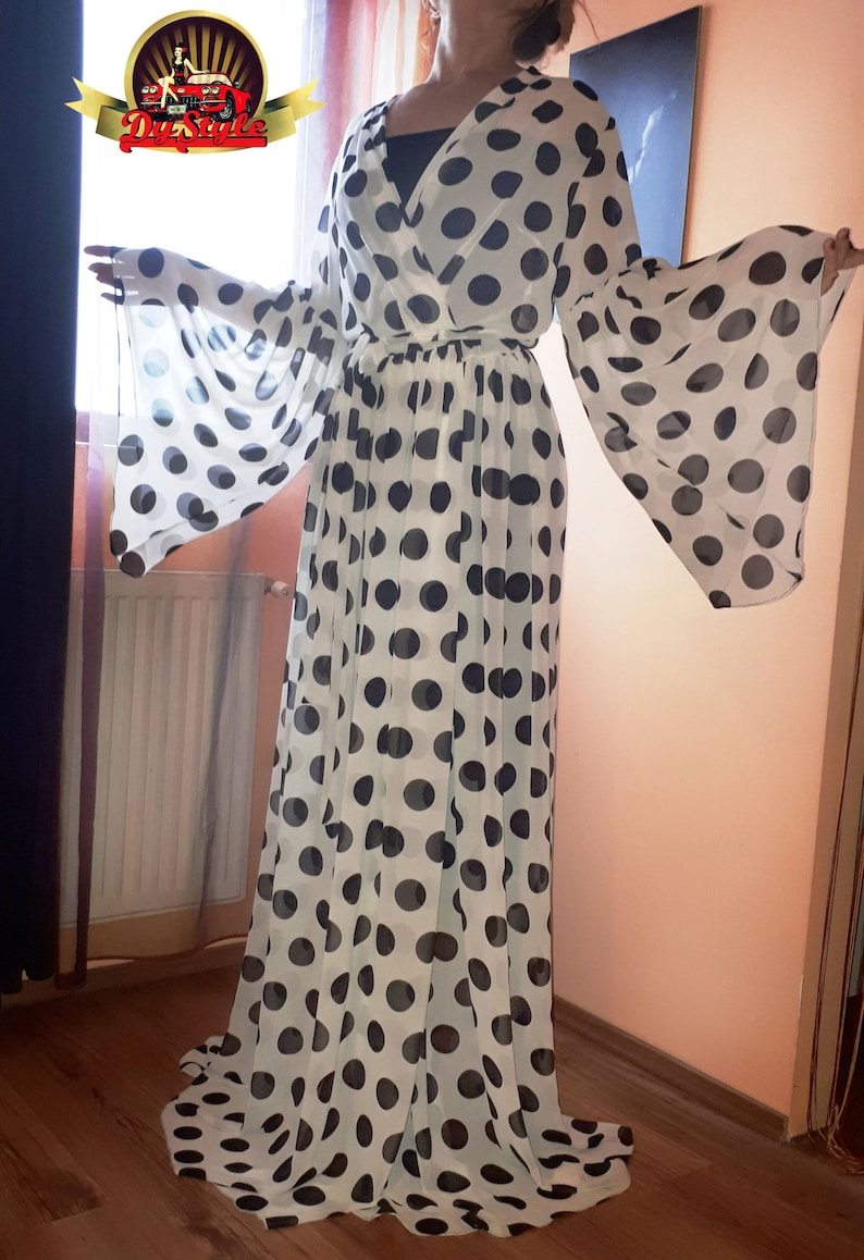 6e9127188b2a Black and White Polka Dots Chiffon See Through Sheer Kimono