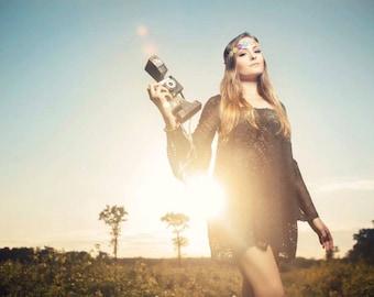Black Short Hippie Lace Dress Boho Bell Sleeve Dress 70s Style Boho Dress Custom Made Summer Fest Lace Dress