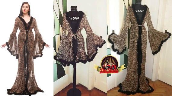 Boudoir Leopard Dressing Gown Burlesque Animal Print Dressing | Etsy