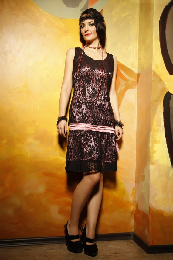 Black Custom Made 20s Style Flapper Plus Size Lace Dress