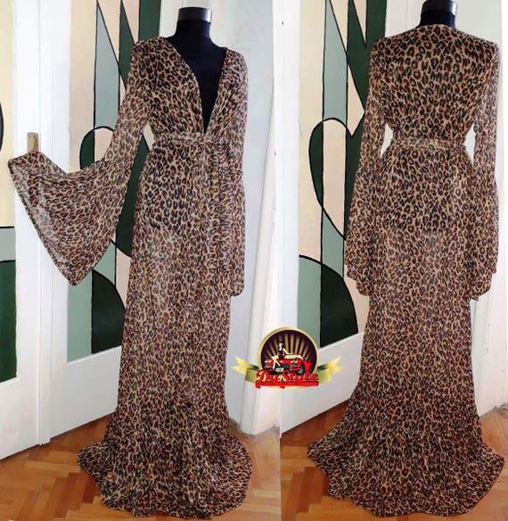 Animal print dressing gown Leopard beach dress Animal print | Etsy