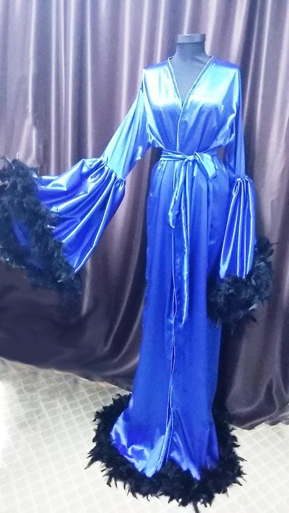 Custom Blue Satin Angel Sleeve Robe Burlesque Feathers   Etsy