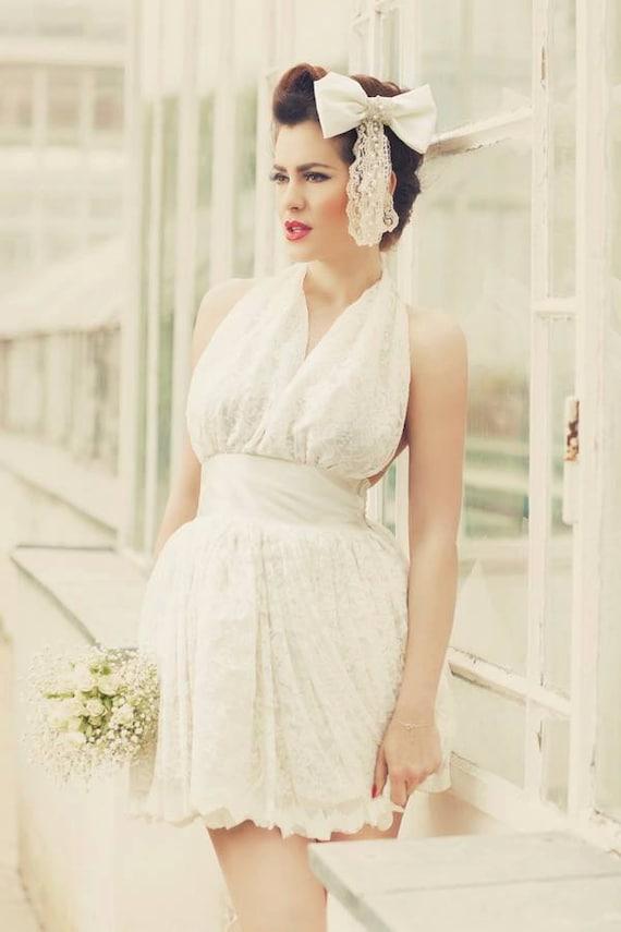 93e4a45f58 Ivory Short 1950s Inspired Mini Wedding Dress Short Wedding