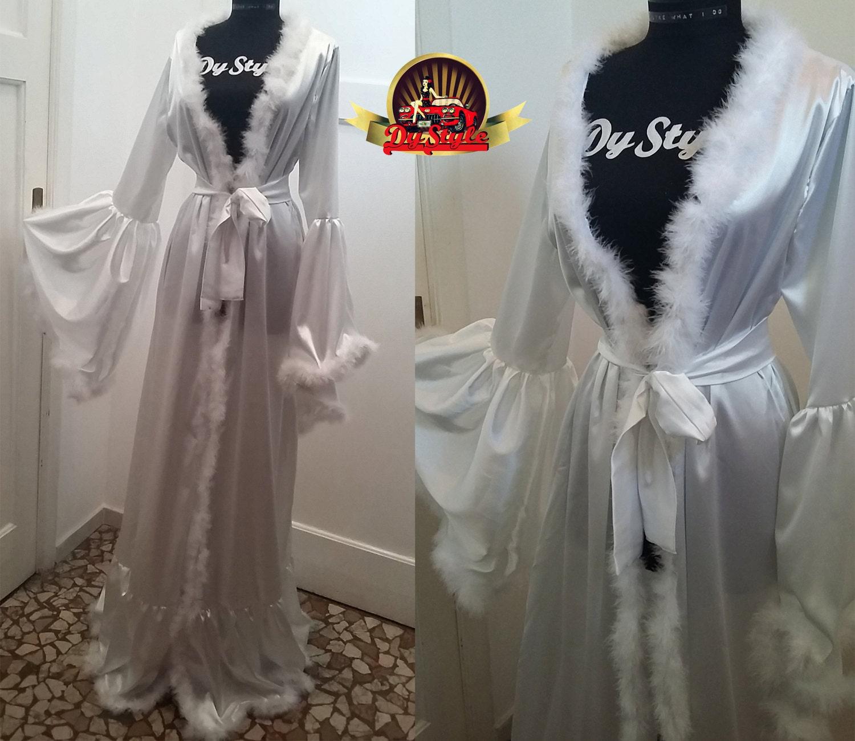 White Bride Dressing Gown Bridal Robe Wedding Lingerie Satin   Etsy