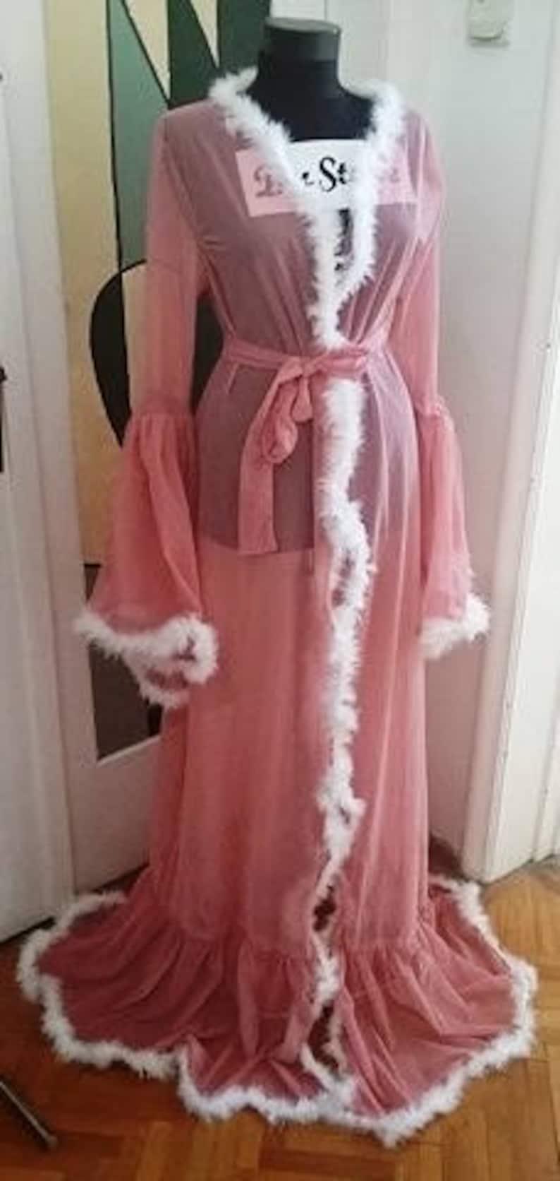 7cd66bfed1995c Rosa und weißen Bademantel Sexy Dessous Marabu Feder Robe | Etsy
